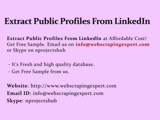 Extract Public Profiles From LinkedIn