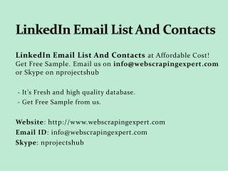 Linkedin Email List And Contacts