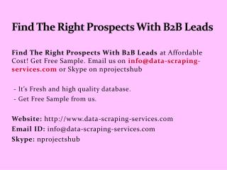 Find The Right Prospects With B2B Leads