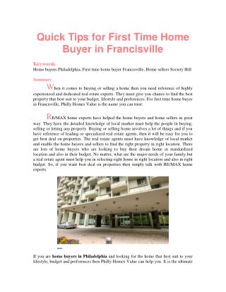 Quick Tips for First Time Home Buyer in Francisville