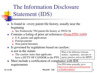 The Information Disclosure Statement IDS