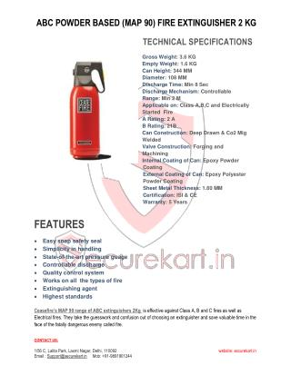 Ceasefire Abc Powder Based (Map-90) Fire Extinguisher Features  - 2 Kg