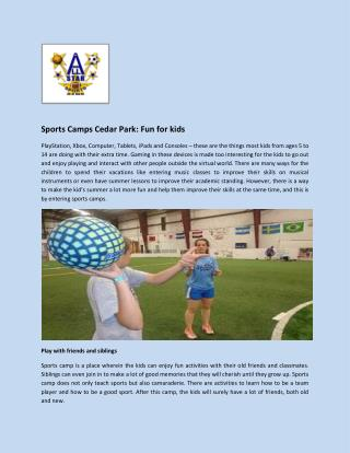 Sports Camps Cedar Park: Fun for kids