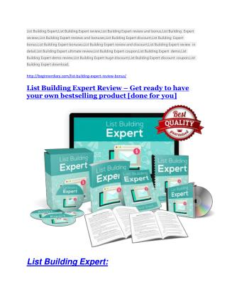 List Building Expert review and Exclusive $26,400 Bonus