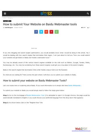 How to submit Your Website on Baidu Webmaster tools