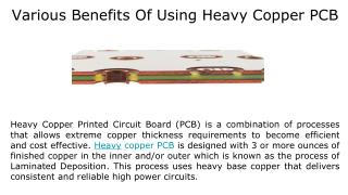 Various Benefits Of Using Heavy Copper PCB