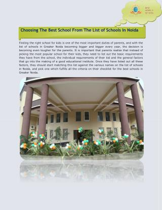 Choosing The Best School From The List Of Schools In Noida