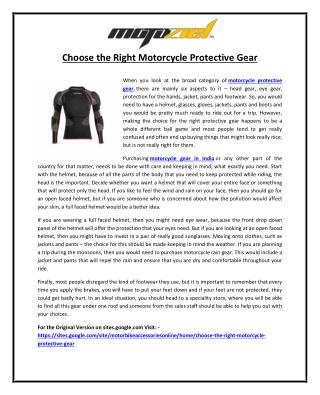 Choose the Right Motorcycle Protective Gear