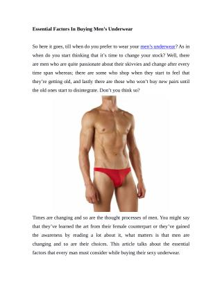 Essential Factors In Buying Men's Underwear