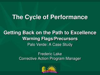 The Cycle of Performance   Getting Back on the Path to Excellence  Warning Flags