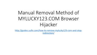 Manual removal method of mylucky123.com browser hijacker
