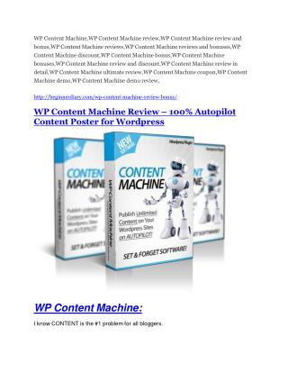 WP Content Machine review and MEGA $38,000 Bonus - 80% Discount