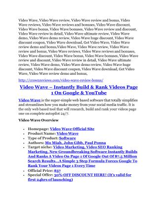 Video Wave Detail Review and Video Wave $22,700 Bonus