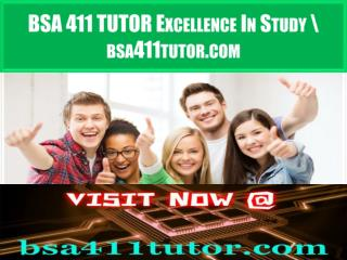 BSA 411 TUTOR Excellence In Study \ bsa411tutor.com