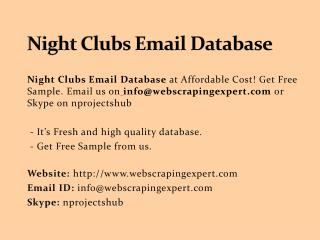 Night Clubs Email Database