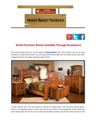 Amish Furniture Stores Available Through Ecommerce