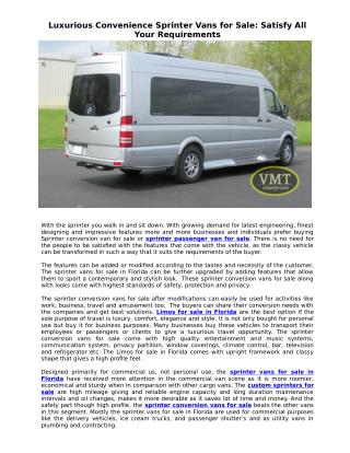 Luxurious Convenience Sprinter Vans for Sale: Satisfy All Your Requirements