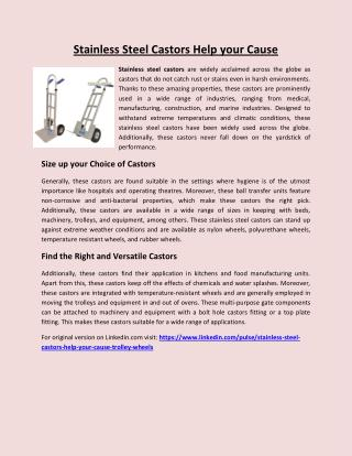Stainless Steel Castors Help Your Cause