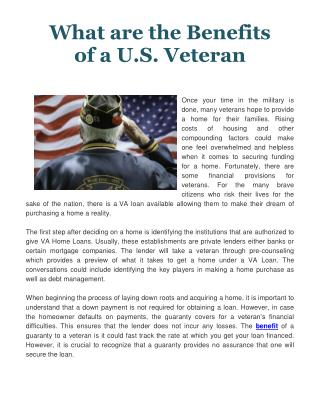 What Are The Benefits of A U.S. Veteran