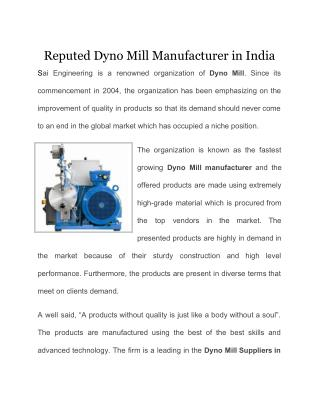 Reputed Dyno Mill Manufacturer in India