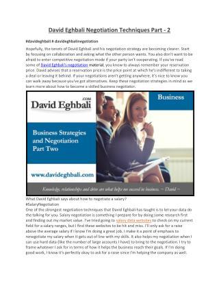 David Eghbali Negotiation Techniques Part - 2