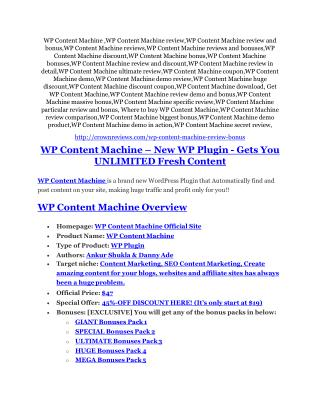 WP Content Machine Review - SECRET of WP Content Machine