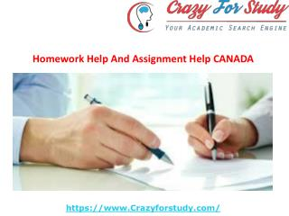Homework Help And Assignment Help CANADA | crazyforstudy