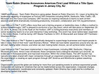Team Robin Sharma Announces Americas First Lead Without a Title Open Program in Jersey City, NJ