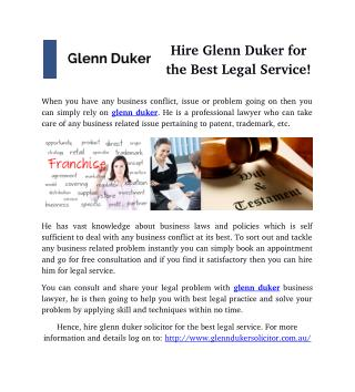 Hire Glenn Duker for the Best Legal Service!