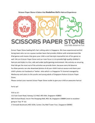 Scissor Paper Stone A Salon that Redefine Kid's Haircut Experience