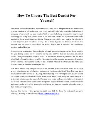 How To Choose The Best Dentist For Yourself