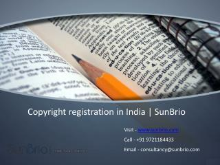 Copyright Registration in India | SunBrio