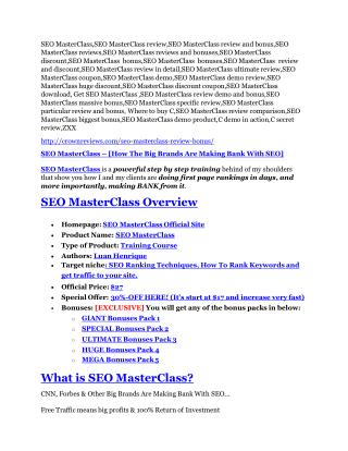 SEO MasterClass Reviews and Bonuses-- SEO MasterClass