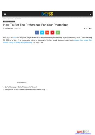 How To Set The Preference For Your Photoshop