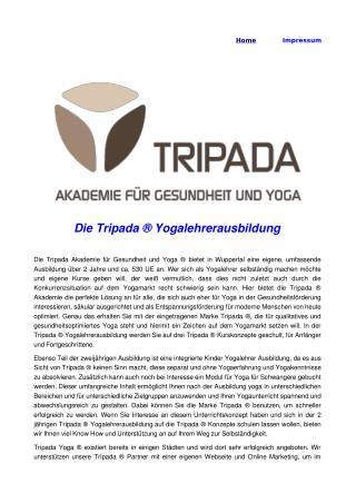 Die Tripada ® Yogalehrerausbildung