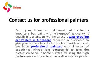 Contact Us for Professional Painters
