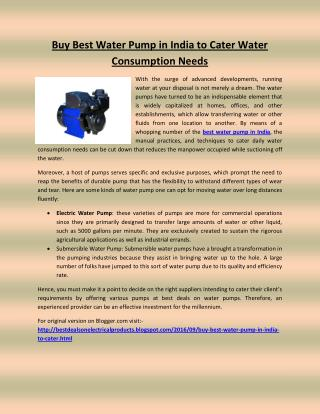 Buy Best Water Pump in India to Cater Water Consumption Needs