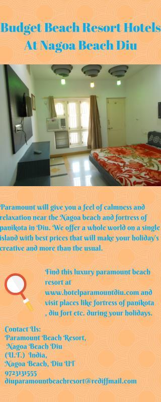 Budget Luxury Hotel Resorts in Nagao Beach Diu near Fortress of Panikota