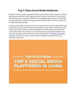 Top 5 China Social Media Platforms