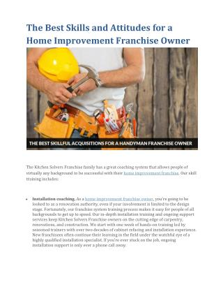 The Best Skills and Attitudes for a Home Improvement Franchise Owner