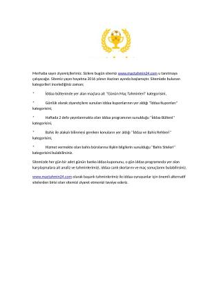 Mactahmin24 sitesi tanitimi