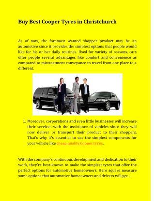 Buy Best Cooper Tyres in Christchurch