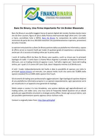 Banc De Binary, Una Firma Importante Per Un Broker Blasonato