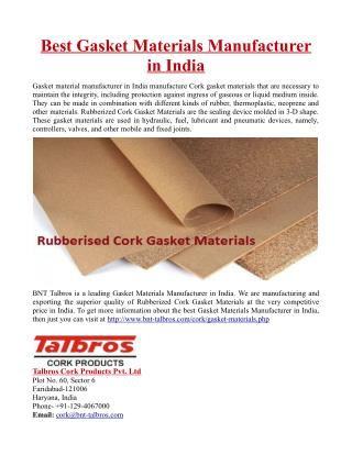 Best Gasket Materials Manufacturer in India