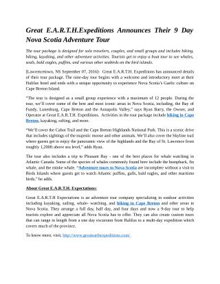 Great E.A.R.T.H.Expeditions Announces Their 9 Day Nova Scotia Adventure Tour