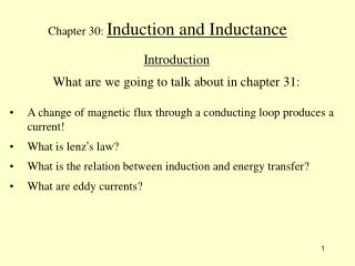 Chapter 30: Induction and Inductance