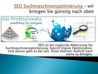 SEO Suchmaschinenoptimierung – wir bringen Sie günstig nach oben