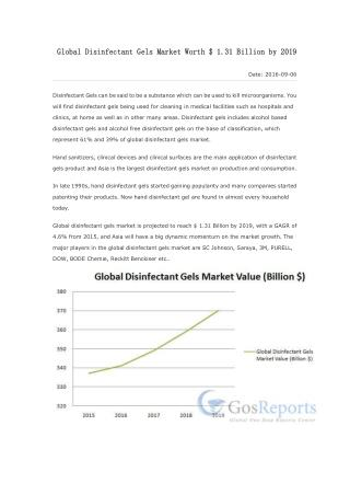 Global Disinfectant Gels Market Worth $ 1.31 Billion by 2019