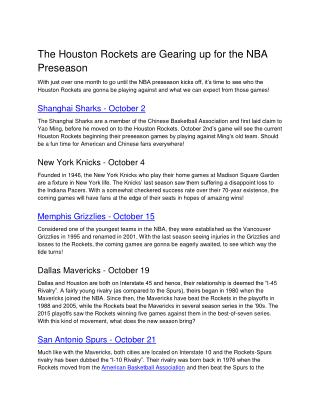 The Houston Rockets are Gearing up for the NBA Preseason