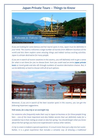 Get Important Suggestions before Japan Private Tours